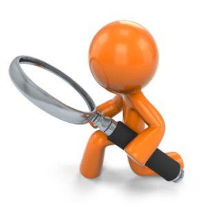 3D Orange Man Kneeling Down Looking Through A Magnifying Glass; 3D Orange Man Holding A Magnifying Glass